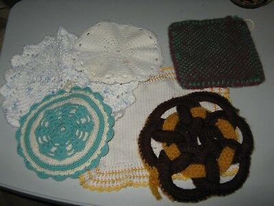 Lot of 6 Vintage Crocheted Pot Holders / Hot Pads / Dishcloth