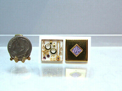 Dollhouse Miniature Gold Square Box Jewelry Set #3 by Cheryl Warder
