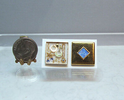 Dollhouse Miniature Gold Square Box Jewelry Set #2 by Cheryl Warder