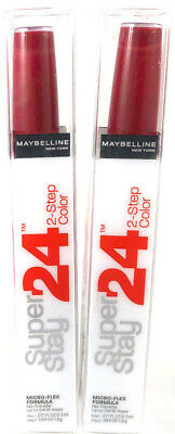 (2) Maybelline Super Stay 2-Step Lip Color Stain New 025 - Keep Up The Flame