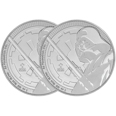 Lot of 2 - 2018 $2 Niue Silver Darth Vader Star Wars .999 1 oz Brilliant Uncircu