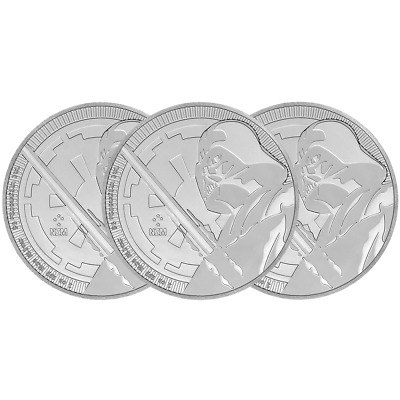 Lot of 3 - 2018 $2 Niue Silver Darth Vader Star Wars .999 1 oz Brilliant Uncircu