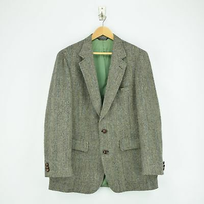 Vintage Woolrich Harris Tweed Brown Wool Blazer Jacket Made in USA L