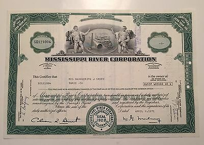 Mississippi River Corporation...stock Certificate...