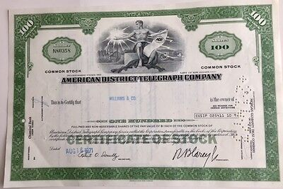 American District Telephone Co. (Adt)... Stock Certificate...