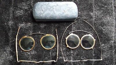 Vintage Antique Old Glasses Eyeglasses Spectacles, Set of 4 and a Metal Case