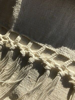 """Antique French Lace And Linen Curtain Panel Handmade Lace Hemp Tassels 23""""/47"""""""