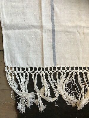 Antique French Lace And Linen Curtain Panel Handmade Lace Hemp Tassels Stunning