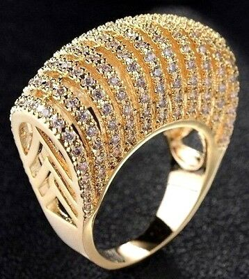 Exceptional Gold Plate & Blinding Crystal High Dome Statement Ring Size 9!