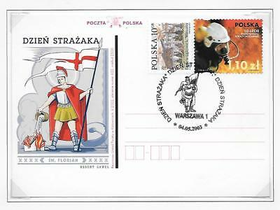 POLAND St. FLORIAN  FIRE FIGHTING STATIONERY POST CARDS PLAIN BACK (2)  2003