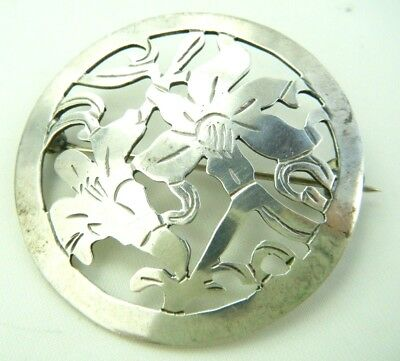 Signed  Stavre Gregor Panis  Sterling Silver Arts And Crafts Era Floral Pin