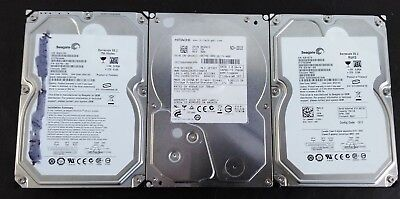 MIXED LOT OF 3 750GB SATA 3.5 HARD DRIVES (Seagate&Hitachi) TESTED