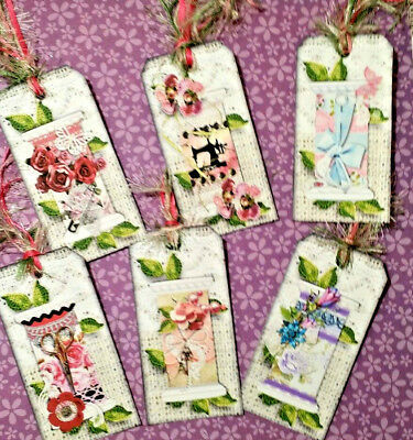 Shabby Chic~Floral Thread Spools~6 Gift Hang Tags~Scrapbooking~Card Craft Making