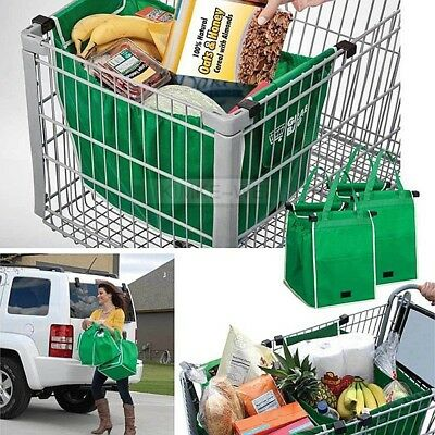 2x Foldable Reusable Tote Eco-Friendly Supermarket Trolley Cart Shopping Bag New