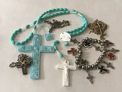 Religious Cross Jewelry Lot Charms Ware Retro Craft Repair Vintage Salvage Junk