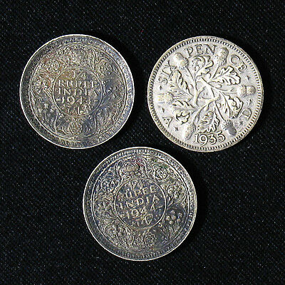 Lot of 3 Britain and India-British silver coins 1935 6 Pence, 1944 1/4 Rupee x2