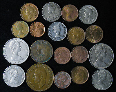 Lot of 19 British Commonwealth Coins Canada New Zealand Australia South Africa B