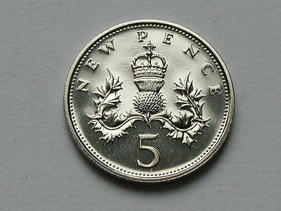 UK (Great Britain) 1971 5 PENCE (5p) Queen Elizabeth II Coin UNC (from mint set)