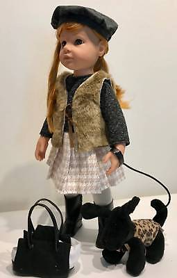 """Gotz Doll 19"""" Hannah and Her Dog + Holiday Nightgown FAST FREE SHIPPING"""