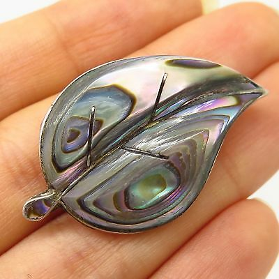 Vtg Mexico Signed 925 Sterling Silver Abalone Shell Leaf Design Pin Brooch