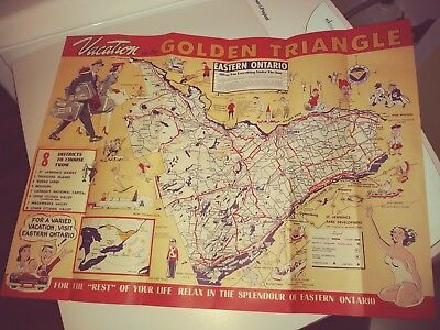 1950's Vacation Map And Guide Golden Triangle  Eastern Ontario, Canada