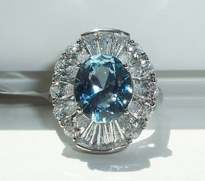 STAINLESS STEEL Simulated London Blue Topaz & AAA Grade Cubic Zirconia Ring 5-9