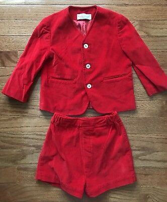 Vintage Imp Originals 3t Red Velour Boys Suit And Shorts For Saks Fifth Ave.