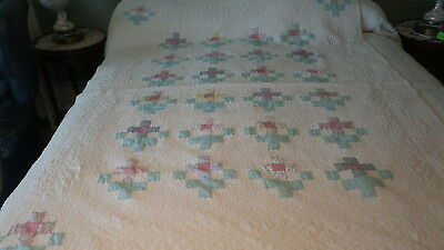 """Vintage Quilt PASTEL FLORAL SQUARES ON PALE PINK Machine Quilted 76""""x48"""""""