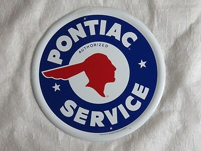 Pontiac Authorized Service Chief Logo Metal Tin Sign 12""