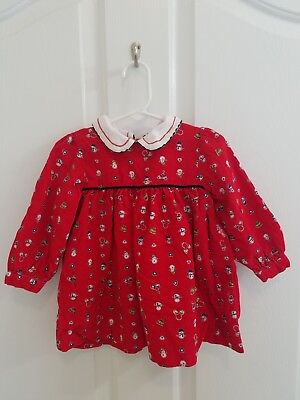 Vintage Baby Girl Red Corduroy Christmas Snowman Outfit Set Size 18 Months