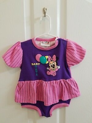Vintage Baby Toddler Girl DISNEY Minnie Mouse Ruffle Bodysuit Size 24 Months