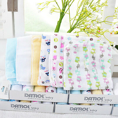 5Pcs Baby NewBorn Gauze Muslin Square Cotton Bath Wash Handkerchief Towels Hot