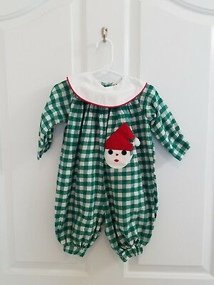 Vintage Baby Girl Green Plaid Christmas Santa Claus Romper Size 18 Months