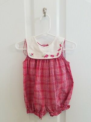 Vintage Baby Girl Pink Plaid Ladybug Floral Embroidered Bubble Size 6-9 Months