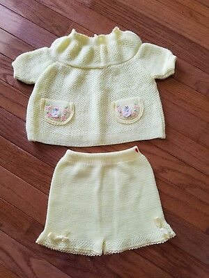 Vintage Baby Girl Yellow Knit Bows Dancing Girl EmbroideredOutfit Size 12 Months