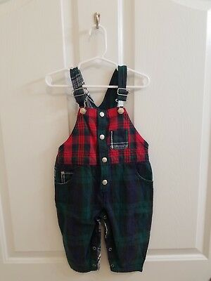 Vintage Baby BABY GAP Blue Green Red White Plaid Overalls Size 12-18 Months
