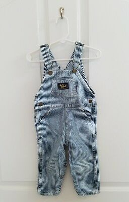 Vintage Baby Boy Girl Oshkosh B'Gosh Blue Striped Vestbak Overalls Size 18 Month