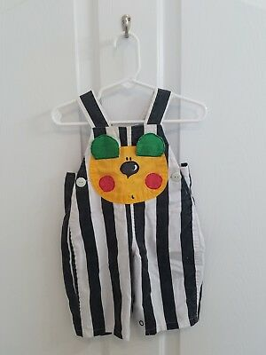 Vintage Baby Black and White Striped Puppy Dog Overalls Size 0-6 Months