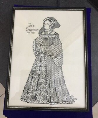 Vintage Hand Embroidered Blackwork Black Stitching Jane Seymour Picture Panel