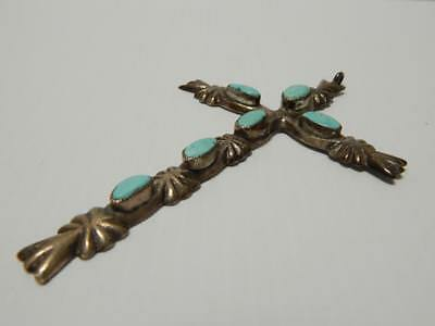 Giant Vintage Navajo Indian Sterling Silver Turquoise Christian Religious Cross