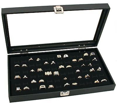 Novel Box Glass Top Black Jewelry Display Case 72 Slot Compartment Ring Tray