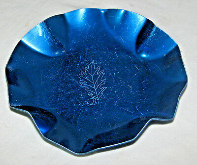 Vintage Blue Aluminum Metal Candy Dish, Etched Leaf