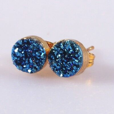7mm Round Natural Agate Titanium Druzy Stud Earrings Gold Plated H111526