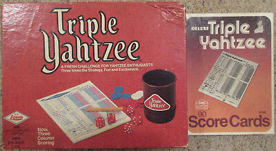Vintage Triple Yahtzee Dice Game w/ Deluxe Score Sheets Cards 1973 ES Lowe