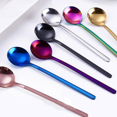 Colorful Stainless Coffee Spoon Long Handled Round Head Kitchen Tableware Tools