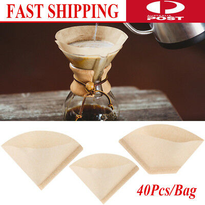 40Pcs/Bag Home Coffee Paper Filter Cones Count Natural Unbleached Replacement AU