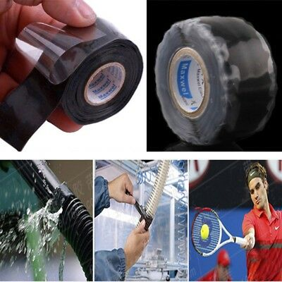 Waterproof Rubber Silicone Repair  Bonding Tape Rescue Self Fusing Wire FT Black