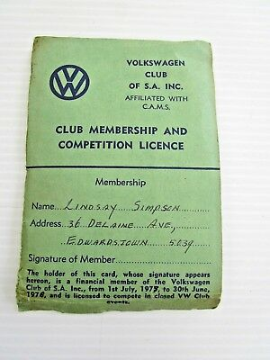 GENUINE 1970's VW VOLKSWAGEN CLUB OF SA MEMBERSHIP & COMPETION LICENCE - $1 POST