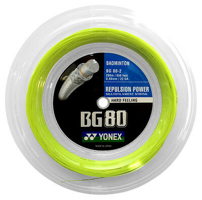 Genuine Yonex BG80 (yellow) 656ft 200m Reel Badminton String  - Made in Japan