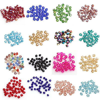 Lot 100pcs Crystal Czech Glass Bicone Loose Spacer Beads Jewelry Making 4mm